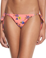 MinkPink Mink Pink Reversible Flora/Plaid-Print Swim Bottoms, Coral/Navy Multi