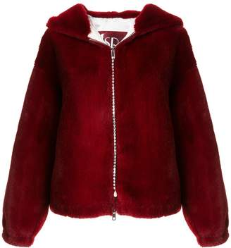 Srvz Club Hooded Faux-Fur Jacket