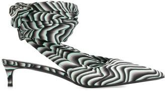 Just Cavalli Wave Print Wrap Around Mules