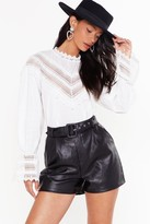 Nasty Gal Womens Faux Leather They Like It or Not High-Waisted Shorts - black - 8