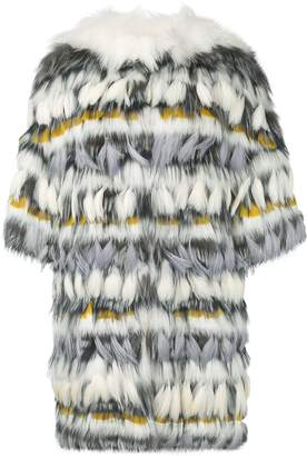 Yves Salomon fur and feather coat