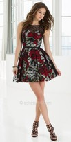 La Femme Rose Print Polka Dot Overlay Homecoming Dress