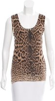 Saint Laurent Leopard Print Cashmere Top