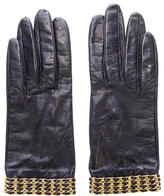 Chanel Embellished Leather Gloves