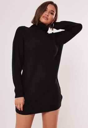 Missguided Black Roll Neck Knit Jumper Dress