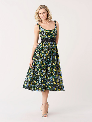 Diane von Furstenberg Freeda Embroidered Toile Midi Dress