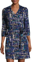 Julie Brown Milo Tweed-Print 3/4-Sleeve Wrap Dress, Blue Hue