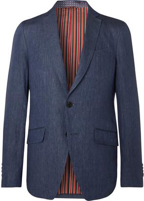 Etro Navy Slim-fit Unstructured Linen Suit Jacket - Blue