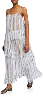 ATM Anthony Thomas Melillo Striped Spaghetti-Strap Cotton Gauze Ruffle Maxi Dress