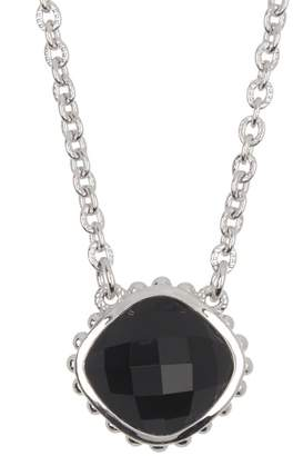 Judith Ripka Sterling Silver Classic Cushion Stone Checkerboard Pendant Necklace