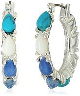 Nine West Silver-Tone and Blue Hoop Earrings