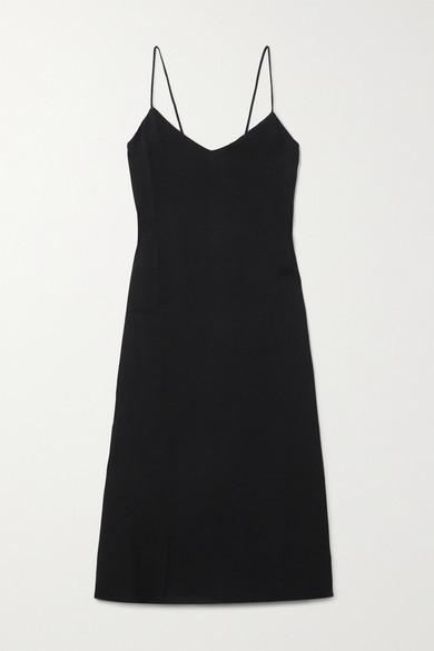 Reformation Chianti Open-back Tie-detailed Crepe Midi Dress - Black