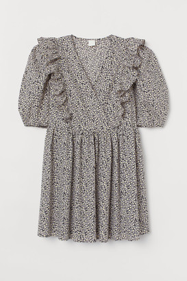 H&M Puff-sleeved Dress - Gray