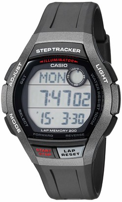 Casio Men's Step Tracker Stainless Steel Quartz Sport Watch with Resin Strap