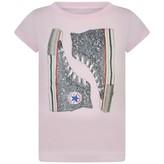Converse ConverseGirls Pink Glitter Trainers Print Top