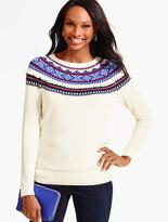 Talbots Fringed Snowflake Fair Isle Sweater