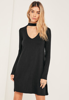 Missguided Black Choker Neck Swing Dress