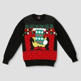 Well Worn Men's Big & Tall Ugly Holiday Stocking Coozie Sweater - Black