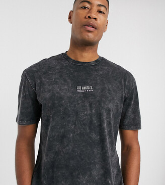 Topman Big & Tall oversized LA t-shirt in black
