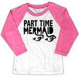 Micro Me White & Pink 'Part Time Mermaid' Raglan Tee - Toddler & Girls
