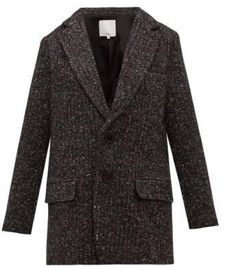 Tibi Single-breasted Tweed Blazer - Womens - Dark Grey