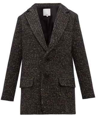 Tibi Single Breasted Tweed Blazer - Womens - Dark Grey