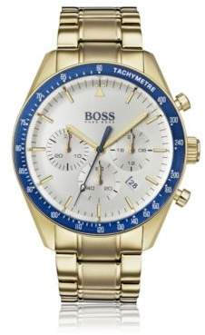 BOSS Yellow-gold-plated chronograph watch with blue bezel
