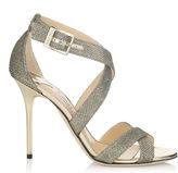 Jimmy Choo LOTTIE Light Bronze Lamé Glitter Sandals