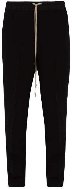Rick Owens Astaires Virgin Wool Blend Crepe Trousers - Mens - Black