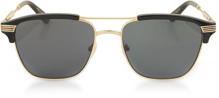Gucci GG0241S 002 Square-frame Metal Sunglasses