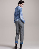 Maison Martin Margiela Denim-Trim Leather Pants