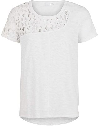 Tribal Short Sleeve Top w/ Lace Insert (White) Women's Clothing