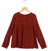 Chloé Girls' Bow-Accented Long Sleeve Top