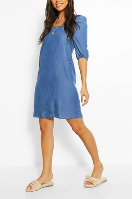 boohoo Chambray Shirred Back Shift Dress