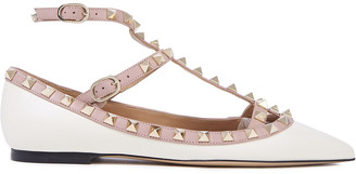Valentino Rockstud Two-tone Leather Point-toe Flats