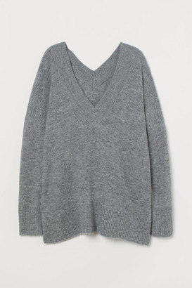 H&M H&M+ V-neck Wool-blend Sweater - Gray