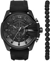 Diesel Men's Chronograph Chief Series Black Silicone Strap Watch and Bead Bracelet Box Set 51x59mm DZ4404