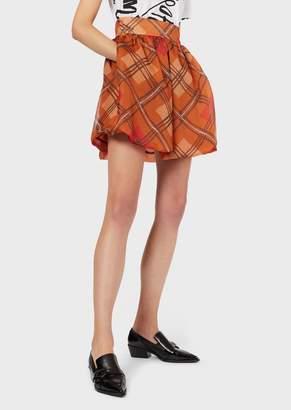 Emporio Armani Full Mini Skirt In Silk Organza With Tartan Print
