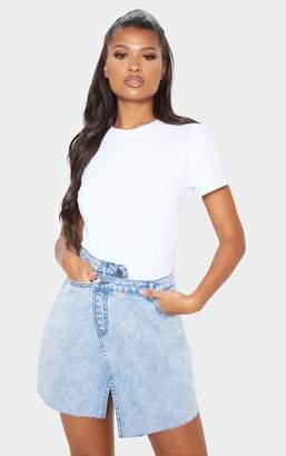 PrettyLittleThing Mid Wash Asymmetric Denim Skirt