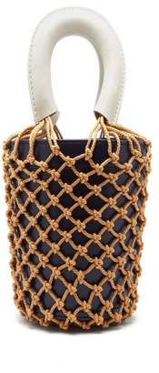 STAUD Moreau Macrame And Leather Bucket Bag - Womens - Navy Multi