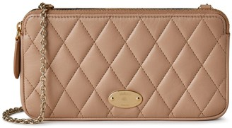 Mulberry Plaque Wallet on Chain Light Salmon Quilted Shiny Calf
