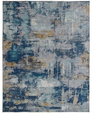 Williston Forge Romina Abstract Flatweave Blue Area Rug Rug Size: Rectangle 5' x 7'
