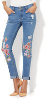 New York & Co. Soho Jeans - Embroidered & Destroyed Boyfriend - Medium Blue Wash