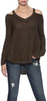 Elan V-Neck Cold Shoulder Sweater