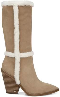 Sam Edelman Ilsa Faux Fur-Trim Suede Tall Boots
