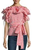 StyleKeepers Sangria Off-the-Shoulder Ruffled Plaid Top