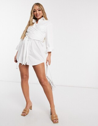 Saint Genies wrap tie detail long sleeve shirt dress in white