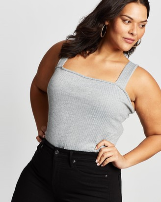 Missguided Curve - Women's Grey Bodysuits - Plus Size Ribbed Strap Bodysuit - Size 18 at The Iconic