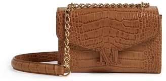Max Mara Leather Croc-Embossed Shoulder Bag