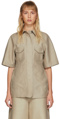 BEIGE LVIR Structured Short Sleeve Shirt